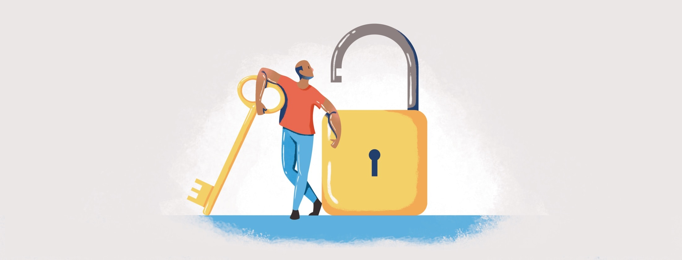 A man with a key to unlock a giant lock