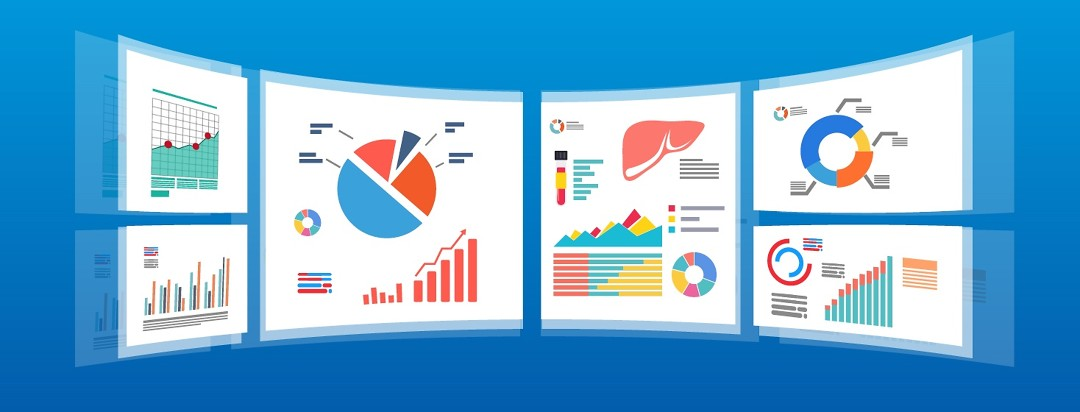 An image of graphs, medical charts, and a liver