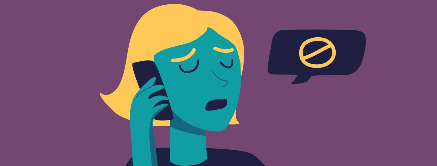 An image of a woman on the phone with a speech bubble showing that she is saying no.