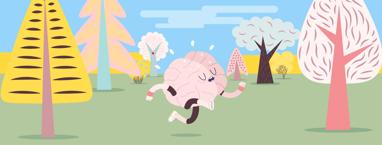 An image of a brain running and exercising