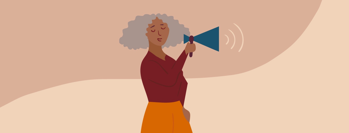 An image of a woman with a megaphone being an advocate