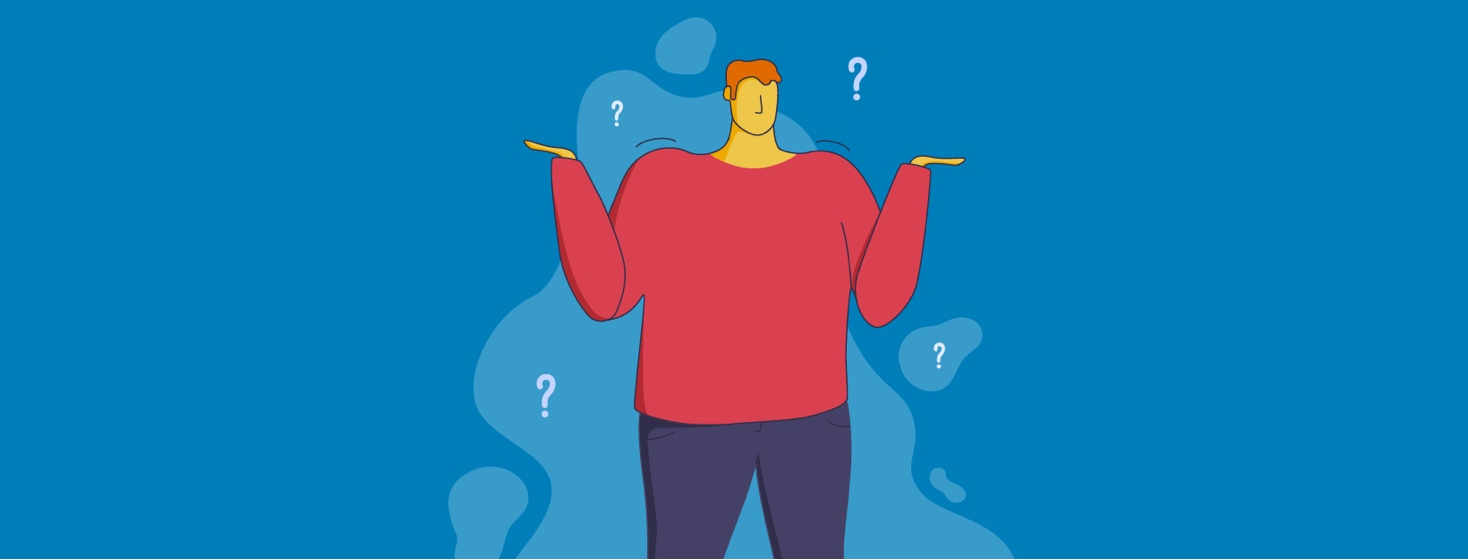 Man raising his arms and shrugging as if asking a question, surrounded by question marks