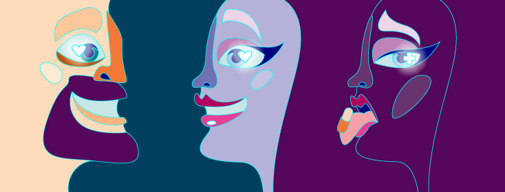 Abstract figures, one man and two women. One woman has a medication capsule on her tongue