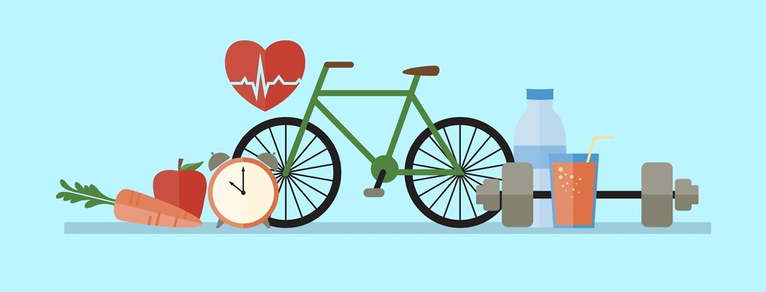 Bike, water, weight, healthy food
