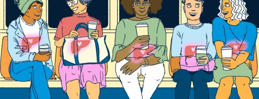 A row of people sitting on a subway all look happy with coffee cups in their hands and healthy livers shining through their bodies indicated by a small heart within each liver.