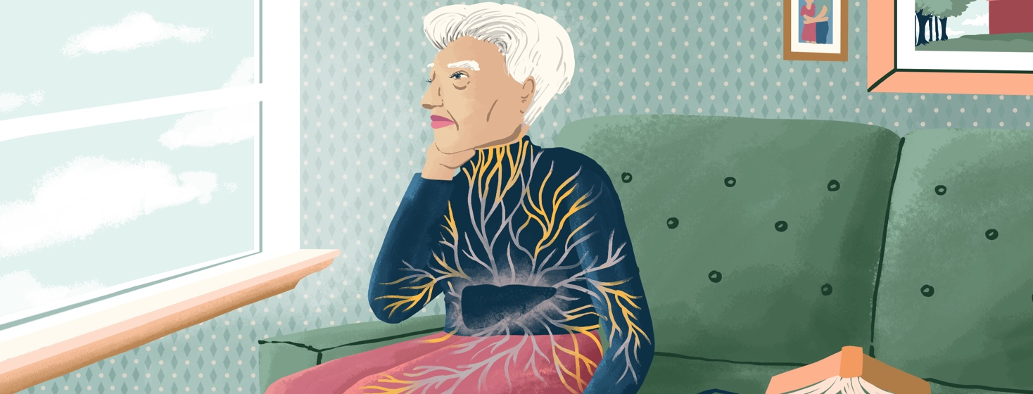 An older woman sits on a couch looking out a window. The viewer can see that inside her, all her pain points in her joints, lymph nodes, heart, etc stem from her liver.