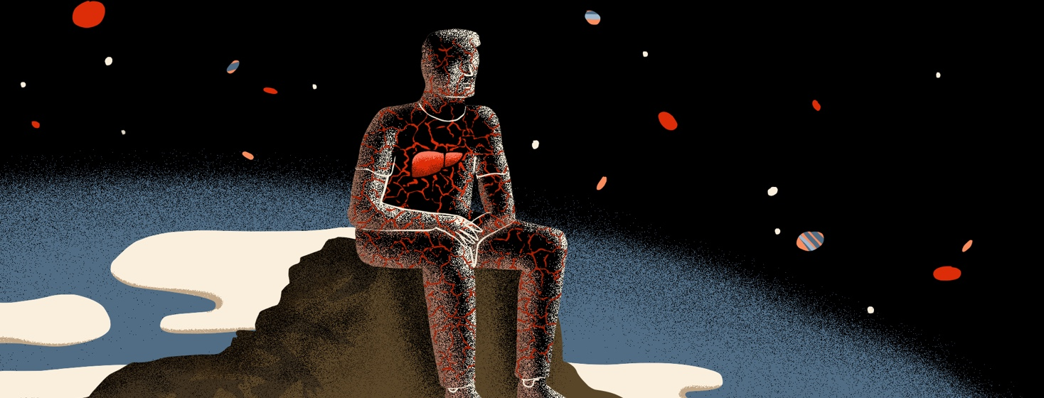 A man sits alone in the dark, with cracks covering his body, all stemming from hi bright red liver.