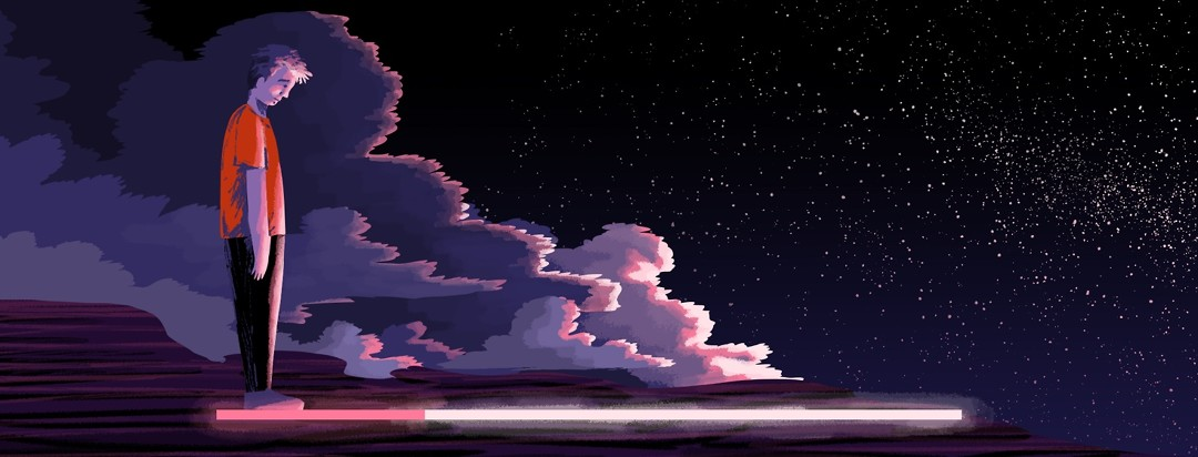 A man stands looking at a slowly loading status bar beneath him. The status bar starts on the left, where the background is clouded and stormy. As it moves to the right, the storm clouds dissipate to reveal a clear night sky.