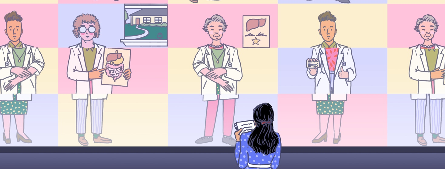 A woman stands in front of a screen that shows doctors with different specialties each spliced into three parts and repaired with another part of another doctor's body.