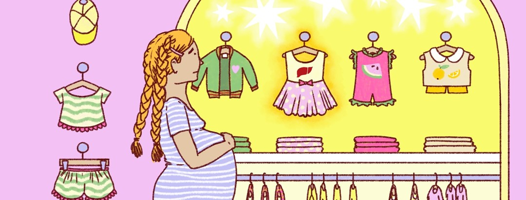 A worried-looking woman stands in front of a row of baby clothes, looking at a dress that has a small liver printed on it.