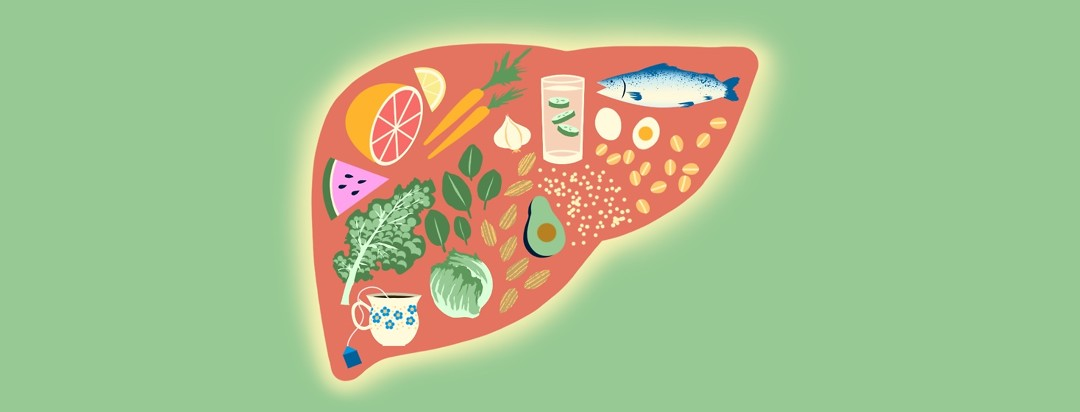 A liver is full of fresh, healthy foods.