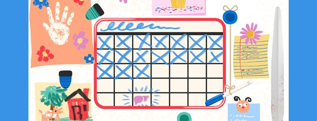 A fridge is crowded with colorful magnets, children's cart, and a whiteboard calendar that is counting down the days.