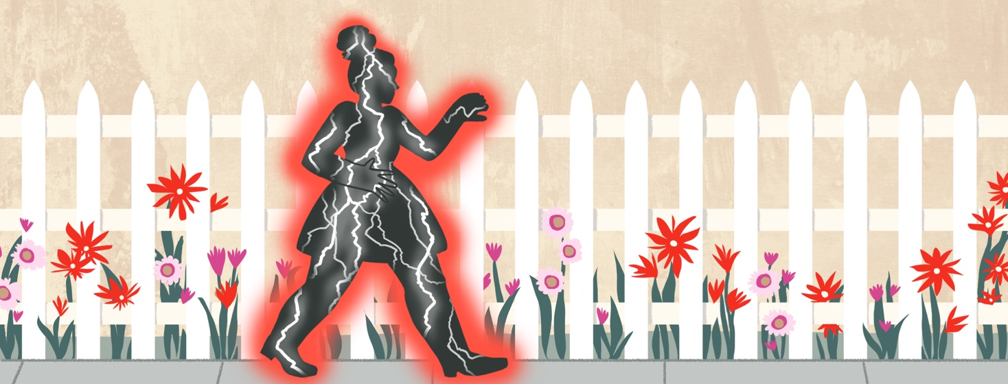 A woman walks down a serene sidewalk lined with a picket fence and flowers, but inside her body are flashes of lightning and she emits a red glow.