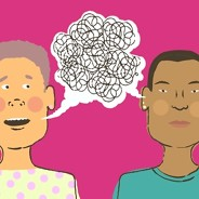 One person on the left attempts to speak to the person on the right. Above the couple's heads is a speech bubble containing a large tangled scribble.