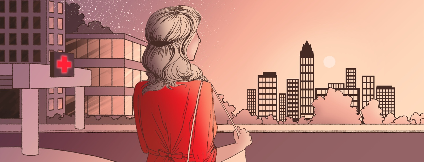 A woman facing away stands between a hospital to her left and a city skyline to her right as she looks out on the rising sun above the skyscrapers.