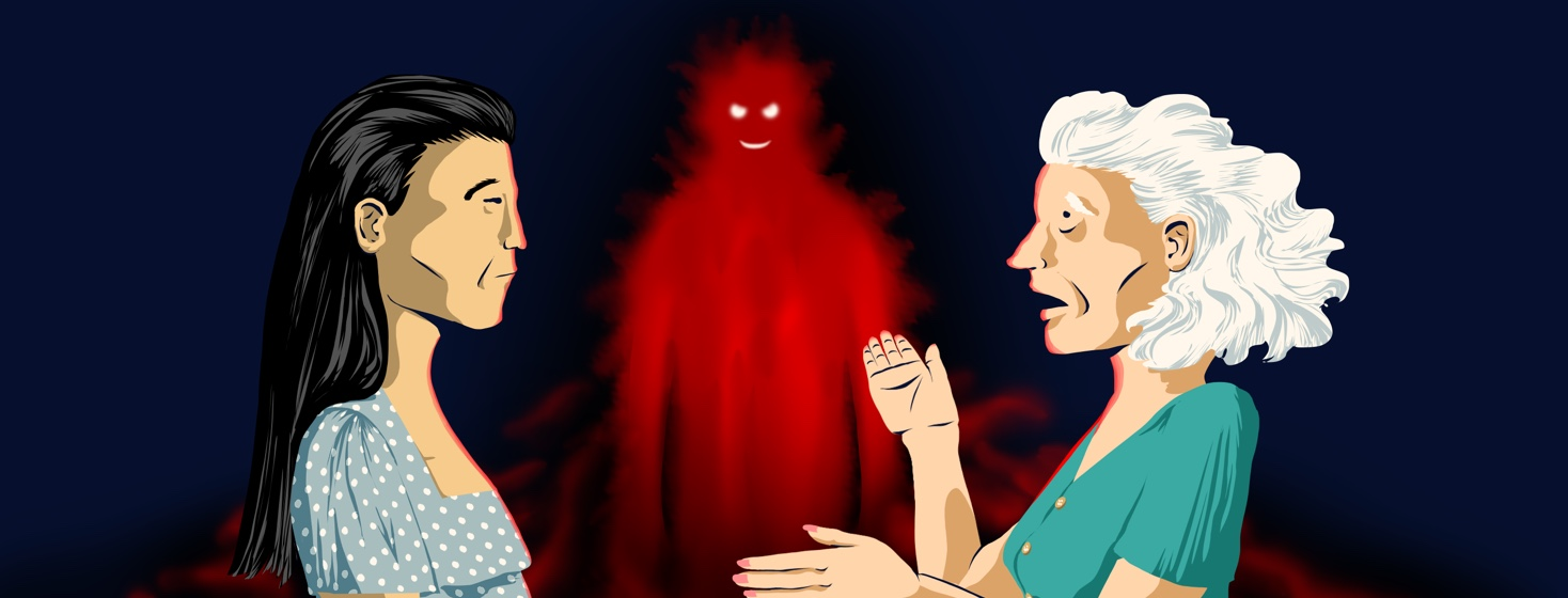 Two women face each other, one looking particularly distressed and gesticulating toward a creepy grinning red figure floating in the background to her right.