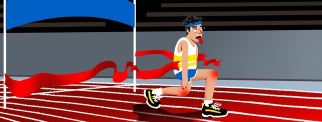 A person breaks through the finish line in a foot race but looks exhausted and appears to have inflamed/painful joints.
