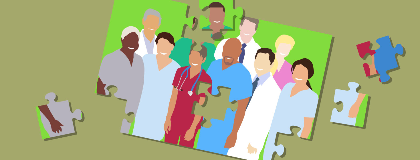 A picture of medical professionals gathered together is broken up into puzzle pieces, partially pieced together.