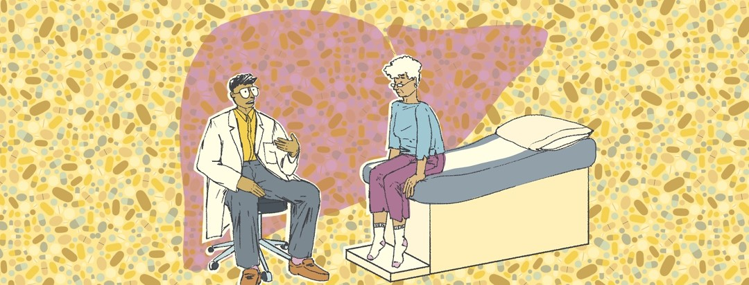 A doctor sitting on a stool talks to a patient sitting on the patient bed in a doctor's office. Behind them is a repeating pattern of vitamins.
