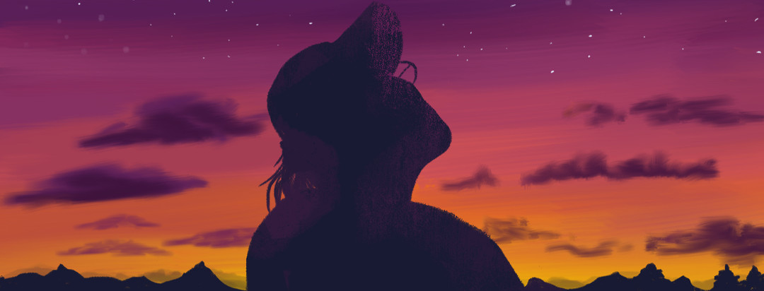 A person stares up at a sunset sky as stars begin to dot the horizon.
