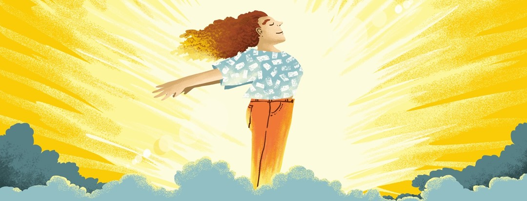A relieved and grateful woman flings her arms out behind her as she emerges from clouds into sunlight.