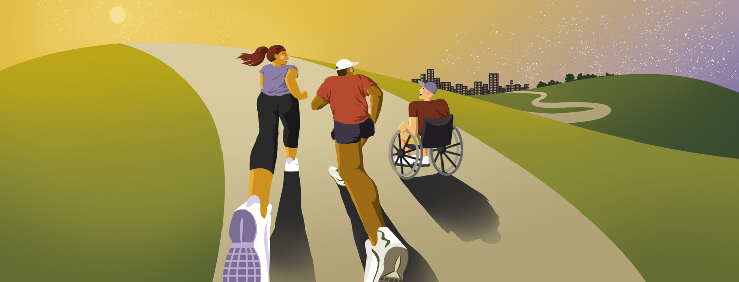 Two people are running up a hill, smiling at a person in a wheelchair to the right of them who is wheeling alongside them. In the distance is a city skyline.