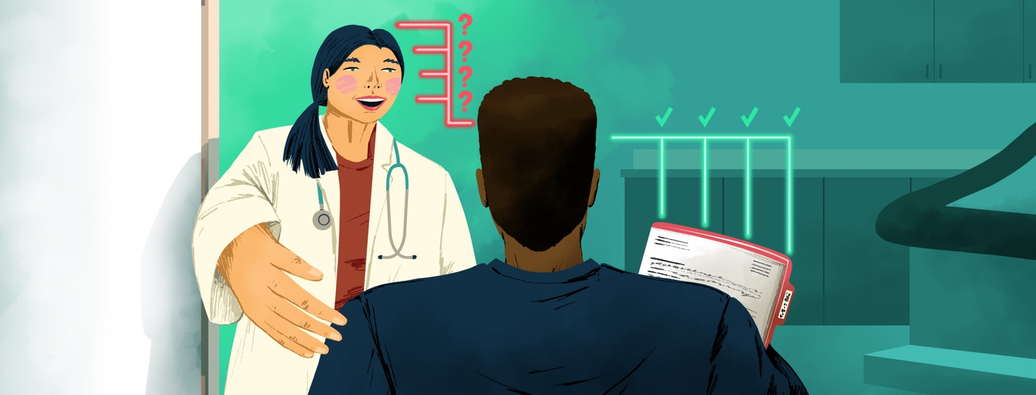 A doctor welcomes in a patient (with his arms full of paperwork) into a doctor's office. To the right of the patient's head are lines that have check marks beside them, and the left are lines that point to the doctor with question marks beside them.