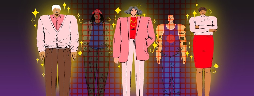 Six people stand together. Three are in the foreground with sparkles around them, while two are in the background with red lines across them.