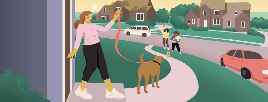 A smiling woman closes the front door of a house behind her and waves to her friends at the end of her sidewalk. All woman have dogs and are dressed for walking.