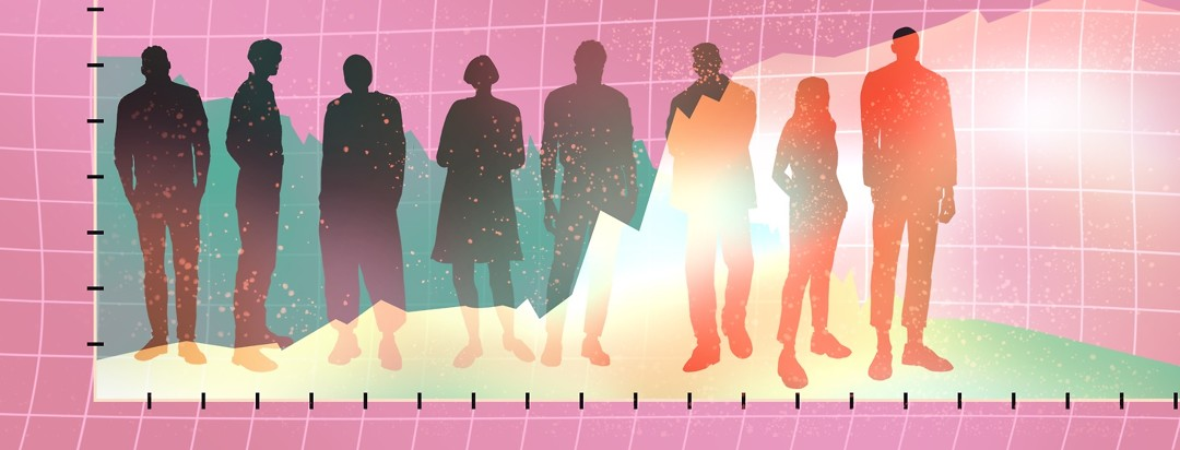 A line graph shows one line decreasing in the background, and another line increasing in the foreground. Between the two lines are silhouettes of young adults.