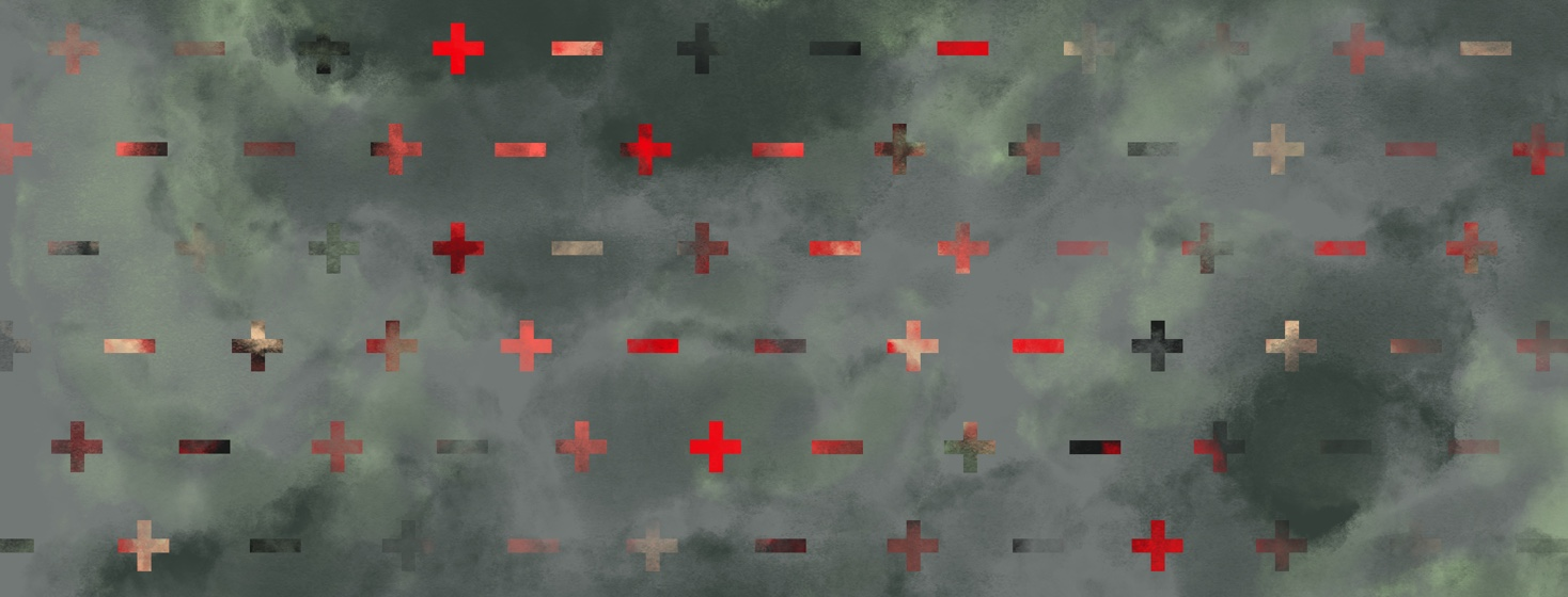 A pattern of plus and minus signs is partially obscured by cloudy mist.