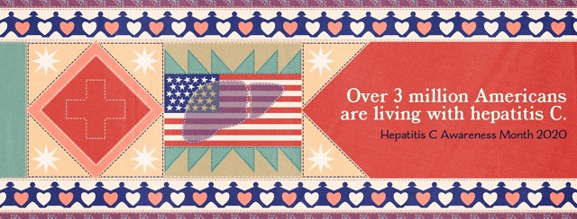 """A quilt features an American flag with a liver overlaid onto it, a stitched red cross, stars, a chain of people, and text that reads: """"Over 3 million Americans are living with hepatitis C - Hepatitis C Awareness Month 2020."""""""
