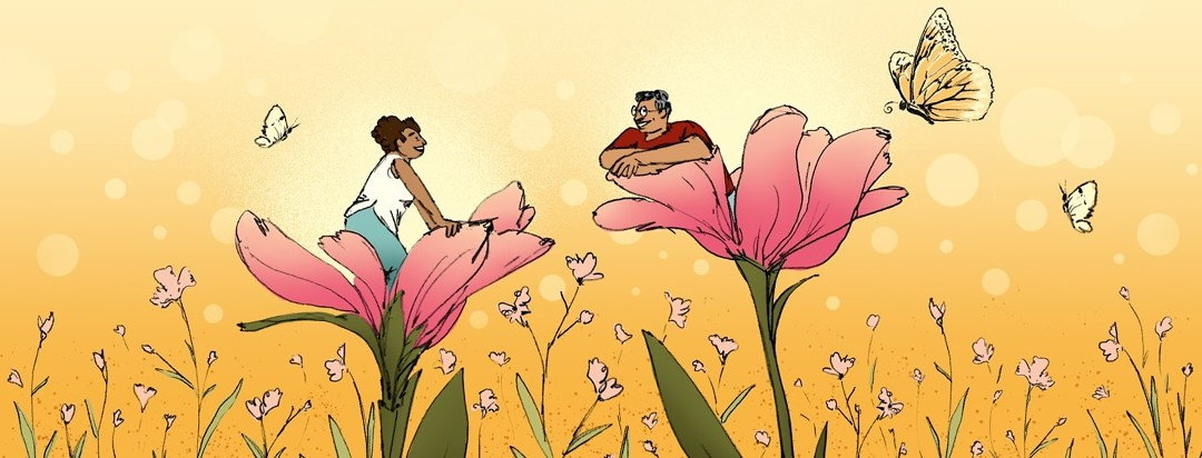 Two people are sitting inside flowers as if the petals have just opened, revealing them. The people and flowers are in a bright meadow.