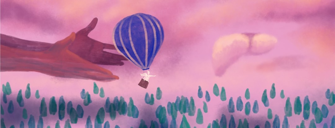 Hands releasing a hot air balloon in the air with a cloud shaped like a liver ahead