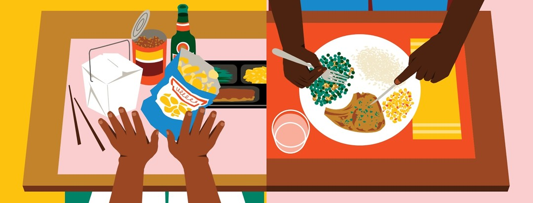 A table is split down the middle. On the left, two hands are pushing away junk food, takeout, beer, and a TV dinner. On the right, two hands are eating a homemade meal of peas, mushrooms, corn, pork chop, and rice off a plate.