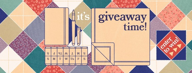 """On a quilt pattern are four items outlined: a Moleskin journal, a fancy ballpoint pen, a blanket, and a pillbox marked with days. The text reads: """"It's giveaway time! Enter to win."""""""