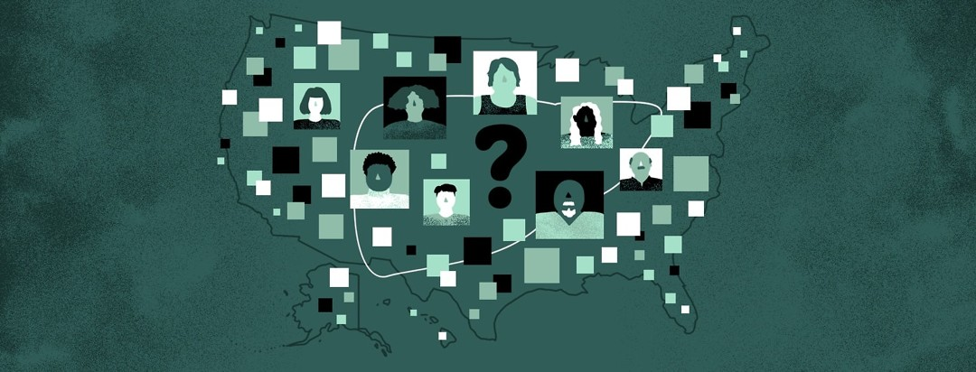 The outline of United States is overlaid with the outline of a liver and profile images of many different people surrounding a question mark in the middle.