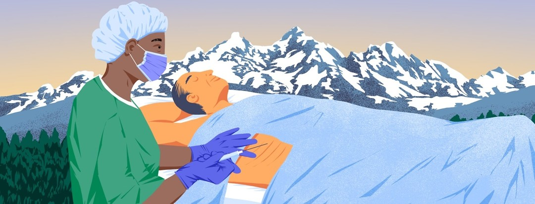 A man lies with his eyes closed on a hospital bed while a nurse or medical tech prepares to insert a long needle syringe between his ribs. This is all set against a beautiful snowcapped mountain backdrop.