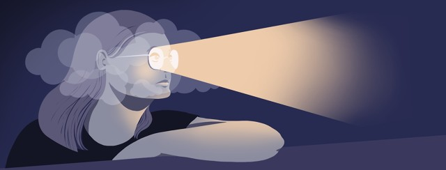 A woman looks out through clouds surrounding her head. The path from her glasses is illuminated and cutting through the clouds.