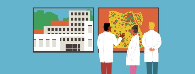 Three doctors stand around examining large screens showing a hospital, a map of Egypt with red and green dots all over it.