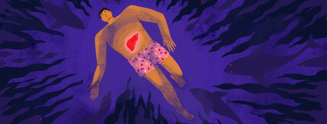 A man with his eyes closed is floating in water. A liver is visible inside his body, and the water ripples out from that point. Surrounding him underwater are sharks and other scary shapes with red eyes.