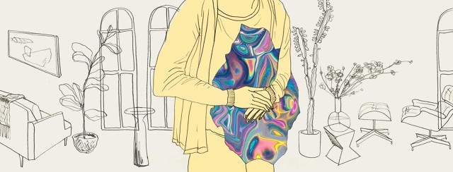 A person holds their stomach, which appears as a multi-colored blur against an otherwise blandly-color body.