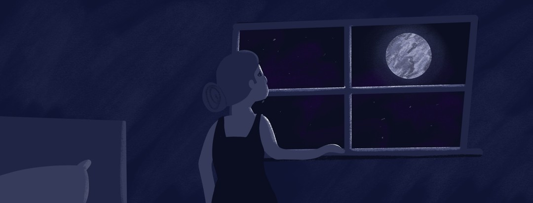 A woman stares out at the moon through her window.