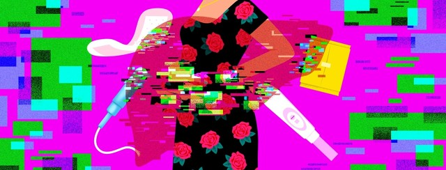 A woman holding her back and stomach is surrounded by menstrual items: a pantyliner, pad, tampon, and pregnancy test. The translucent shape of a liver cover part of the woman's body and each of the items. Where the liver touches each of these elements, the image appears to glitch and break apart.