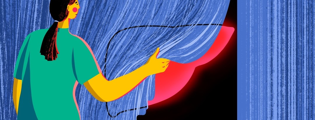 A woman pulls back a curtain to reveal a glowing liver.