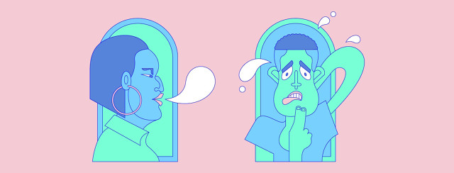 a bubblegum pink image of a sneering woman asking a man a question and he is visibly awkward and uncomfortable