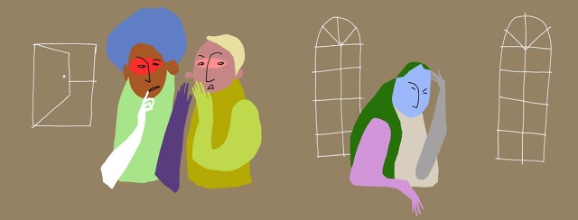an abstract image of rainbow colored people gossiping negatively about another person in the room, who is clearly sad