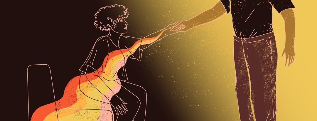 A woman only shown in outline against a dark background is helped up from a seated position by a person offering her a hand. The hand also gives off a glow that fills the woman with positive light.