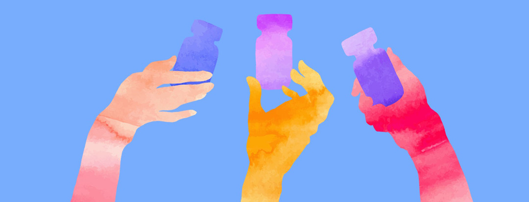 silhouettes of hands holding pills with vivid water color marks inside the shapes
