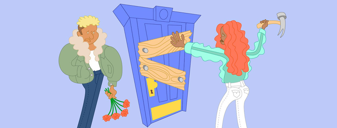 a woman hammers wood into her front door to keep a man out, who is on the other side looking defeated with a handful of roses
